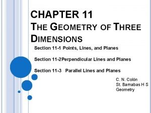 CHAPTER 11 THE GEOMETRY OF THREE DIMENSIONS Section