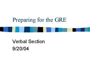 Preparing for the GRE Verbal Section 92004 Geography