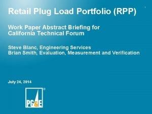 Retail Plug Load Portfolio RPP Work Paper Abstract