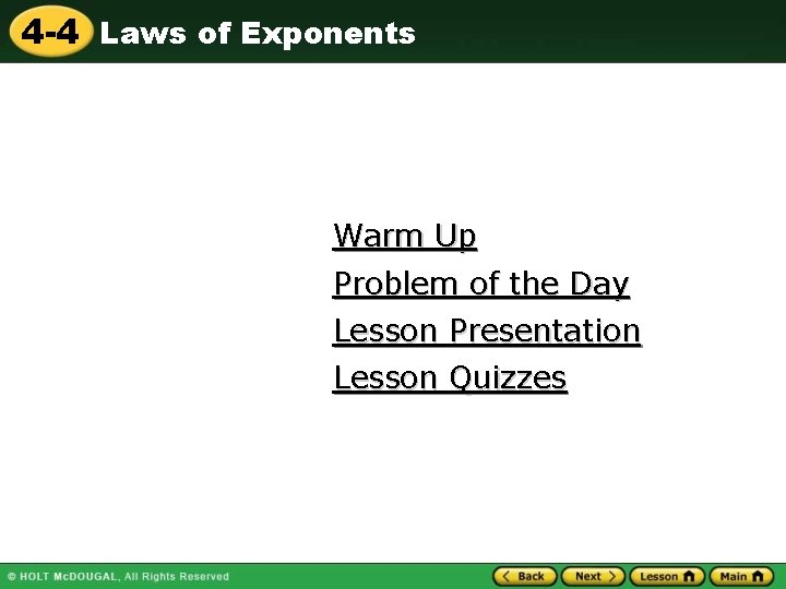 4 4 Laws of Exponents Warm Up Problem