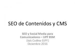 SEO de Contenidos y CMS SEO y Social