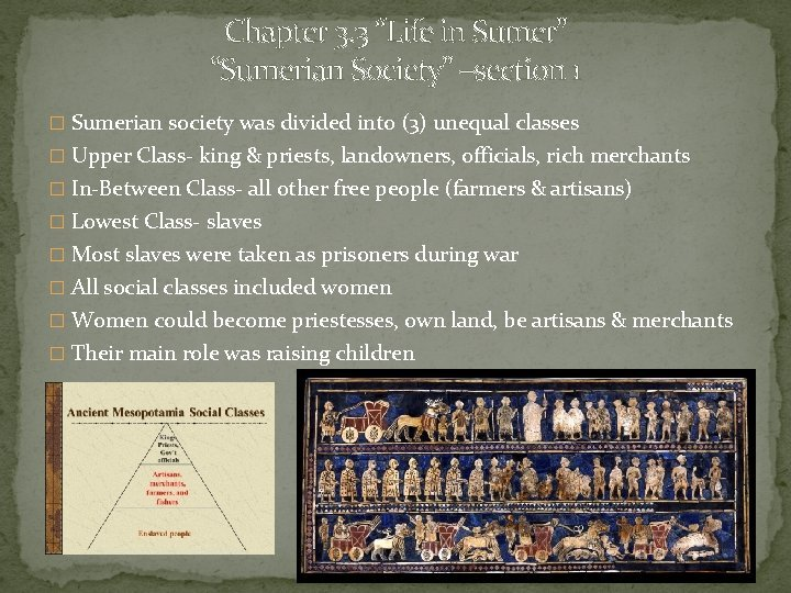 Chapter 3 3 Life in Sumer Sumerian Society