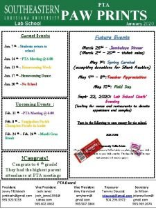 PTA Lab School PAW PRINTS Current Events Jan