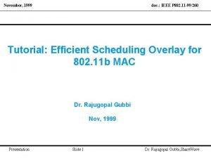 November 1999 doc IEEE P 802 11 99260