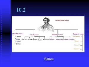 10 2 Sauce Objectives Identify 5 mother sauces
