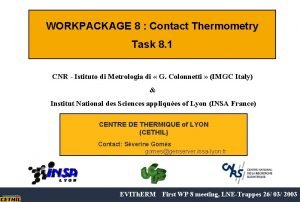 WORKPACKAGE 8 Contact Thermometry Task 8 1 CNR