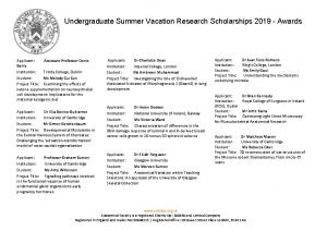 Undergraduate Summer Vacation Research Scholarships 2019 Awards Applicant