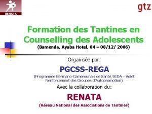 Formation des Tantines en Counselling des Adolescents Bamenda