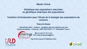 Master Gimat Gntique des populations naturelles ou gntique