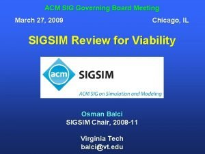 ACM SIG Governing Board Meeting March 27 2009