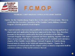 F C M O P FRANKLIN COUNTY MILITARY