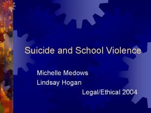 Suicide and School Violence Michelle Medows Lindsay Hogan