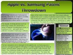 Apple vs Samsung Patent Throwdown Technology manufacturer Samsung