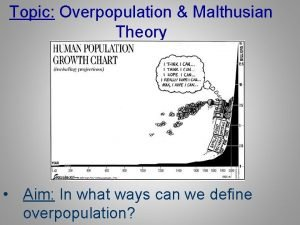 Topic Overpopulation Malthusian Theory Aim In what ways