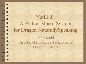 Nat Link A Python Macro System for Dragon