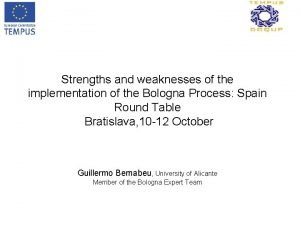 Strengths and weaknesses of the implementation of the