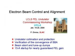Electron Beam Control and Alignment LCLS FEL Undulator