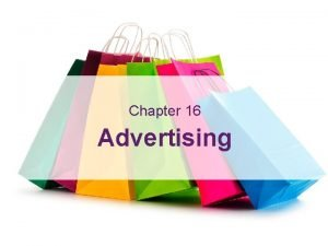 Advertising Learning Outcomes Chapter 16 Advertising 16 Advertising