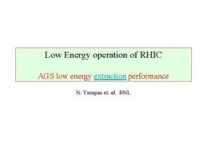 Low Energy operation of RHIC AGS low energy