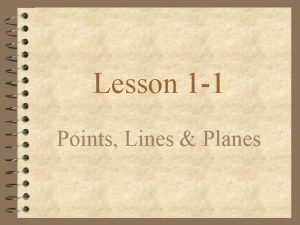 Lesson 1 1 Points Lines Planes Points How