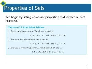 Properties of Sets We begin by listing some