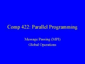 Comp 422 Parallel Programming Message Passing MPI Global