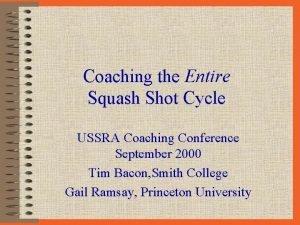 Coaching the Entire Squash Shot Cycle USSRA Coaching