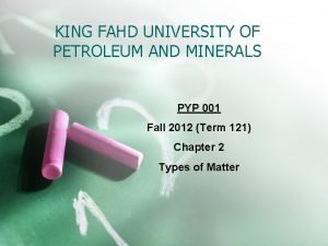 KING FAHD UNIVERSITY OF PETROLEUM AND MINERALS PYP