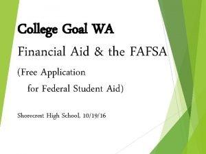 College Goal WA Financial Aid the FAFSA Free