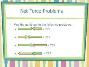 Net Force Problems 1 Find the net force