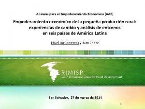 Alianzas para el Empoderamiento Econmico AAE Empoderamiento econmico