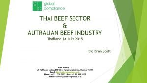 THAI BEEF SECTOR AUTRALIAN BEEF INDUSTRY Thailand 14