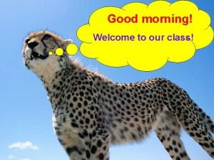 Good morning Welcome to our class LESSON STRUCTURE