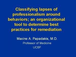 Classifying lapses of professionalism around behaviors an organizational