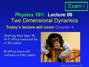 Exam I Physics 101 Lecture 06 Two Dimensional