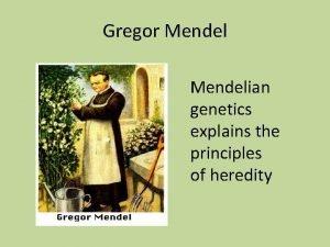 Gregor Mendelian genetics explains the principles of heredity