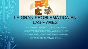 LA GRAN PROBLEMTICA EN LAS PYMES ALEXANDRA CAMBERO
