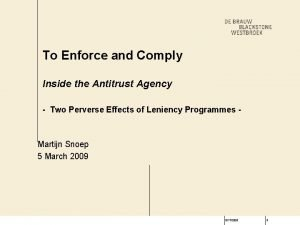 To Enforce and Comply Inside the Antitrust Agency