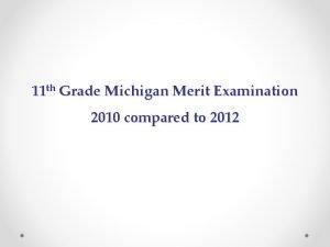 11 th Grade Michigan Merit Examination 2010 compared