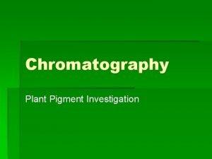 Chromatography Plant Pigment Investigation Lab 4 Plant Pigments
