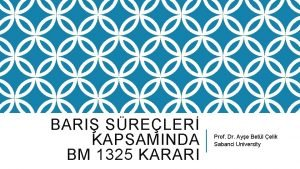 BARI SRELER KAPSAMINDA BM 1325 KARARI Prof Dr