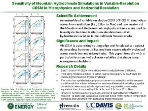 Sensitivity of Mountain Hydroclimate Simulations in VariableResolution CESM
