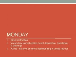 MONDAY Direct instruction 2 Vocabulary journal entries word