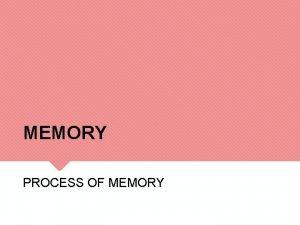 MEMORY PROCESS OF MEMORY MEMORY The processing storage