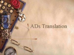 ADs Translation Advertising Media 1 Press Advertising 2
