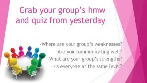 Grab your groups hmw and quiz from yesterday