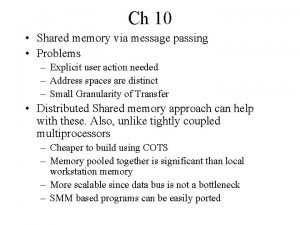 Ch 10 Shared memory via message passing Problems