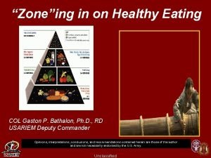 Zoneing in on Healthy Eating COL Gaston P