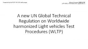 Transmitted by the WLTP UN GTR draft manager
