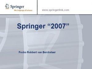 www springerlink com Springer 2007 Focko Robbert van